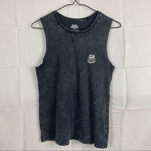 Black & Gray Faded Distressed Sleeveless Round Neck Muscle T-Shirt Size 10